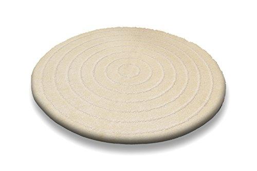 Badematte | Badteppich | Teppich Design CEMBERLITAS (Ecru, 120 cm rund)