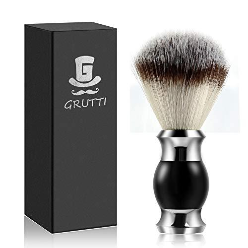 GRUTTI Rasierpinsel, Vegan-Friendly Synthetic Silvertip Fiber Rasierpinsel Barber Salon Men Gesichts Bart Reinigung Rasur-Black Foam Razor Brush- MEHRWEG -