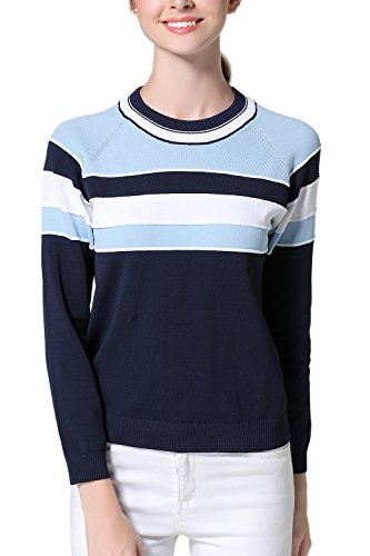 Maglione donna manica lunga Color Block Stripe Casual Blue F