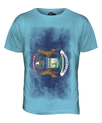 CandyMix Bundesstaat Michigan Verblichen Flagge Herren T Shirt Himmelblau