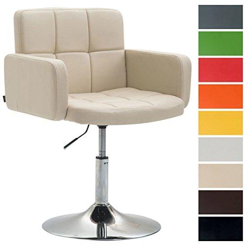 CLP Design Loungesessel LOS Angeles mit Kunstlederbezug | Höhenverstellbarer Esszimmerstuhl mit Trompetenfuß erhältlich Creme