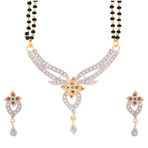 Bandish American Diamond Floral Multicolor Mangalsutra Set with chain