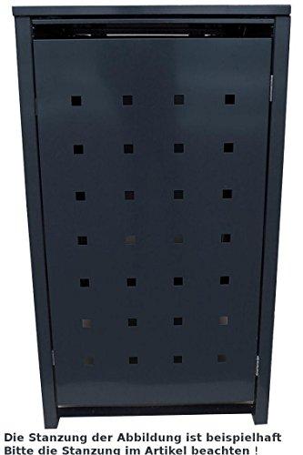 BBT@ | Hochwertige Mülltonnenbox für 2 Tonnen je 240 Liter mit Klappdeckel in Schwarz (RAL 9005) / Stanzung 5 / Aus stabilem pulver-beschichtetem Metall / Verschiedene Farben + Blech-Stanzungen erhältlich / Mülltonnenverkleidung Müllboxen Müllcontainer - 2