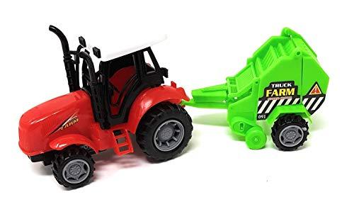 EWTG L 25cm Traktor Spielzeug Trekker Großer Schlepper Mit Agrar-Anhänger Getreide-Säer