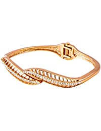 IGP Delicate Leaf Design Copper Finish CZ Stone Embellished Bangle Bracelet For Women And Girls