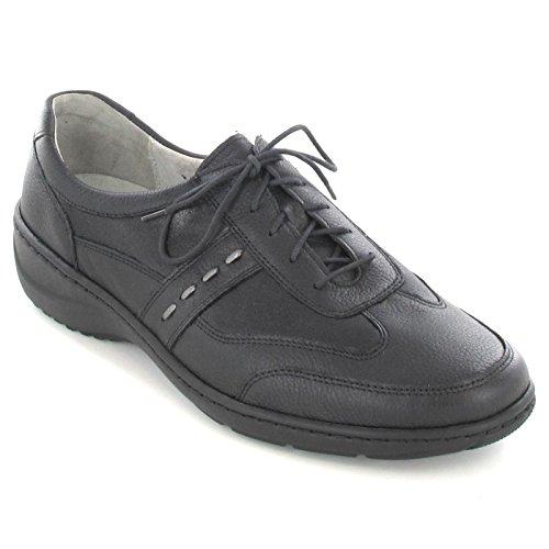 Chemin de forêt Chaussures Femme Confortable/softnappa de lit, amovible cuir Pied en cuir nappa, 30mm Noir - schwarz/asphalt Weite K