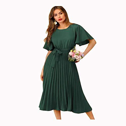 KKVK Dot Belted Dress Elegant Pink Pastell Solid Damen Kleider Stehkragen A Line Halbarm Kleider AM -