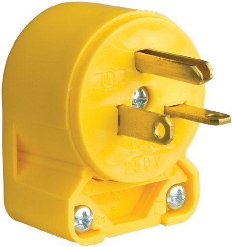 Eaton 4509AN-SP-L Commercial Grade Vinyl Angled Plug with 20-Amp, 250-Volt, 6-20-NEMA Rating, Yellow by Eaton -