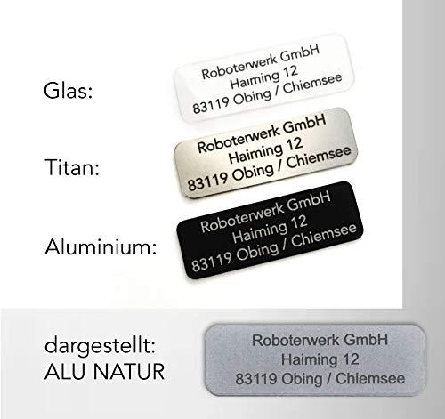 Roboterwerk kleines Drohnenkennzeichen Glas - Titan - Aluminium inkl. Pilotenkarte Drohnen Plakette feuerfest / Kennzeichnung / Drohne Kennzeichen - Plakette