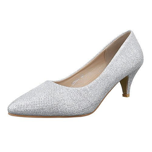 Ital-Design Damen Schuhe, 56080, Pumps, Glitter, Synthetik, Silber, Gr 39