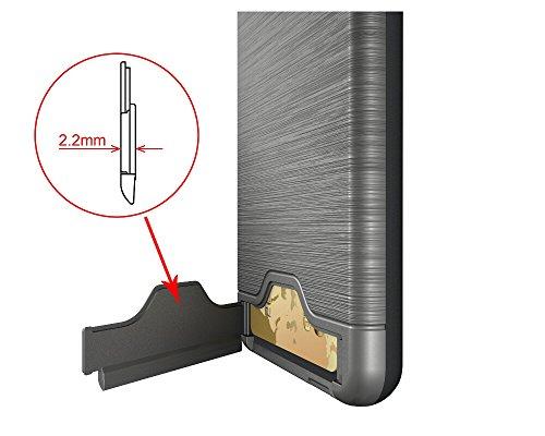 iPhone 7 Case, SOUNDMAE Ultra Slim Hybrid Card Slot Kickstand TPU & PC Anti-impact Shockproof Antiskid Heavy Duty BrushedMetal Case Cover For iPhone 7 - Black Grey