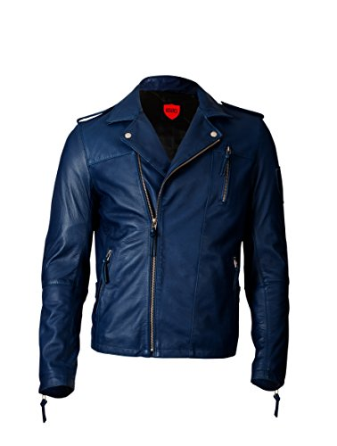 KAVACi Siverstone-Biker Classic Long Sleeve Banded Collar Leather Jacket_Navy