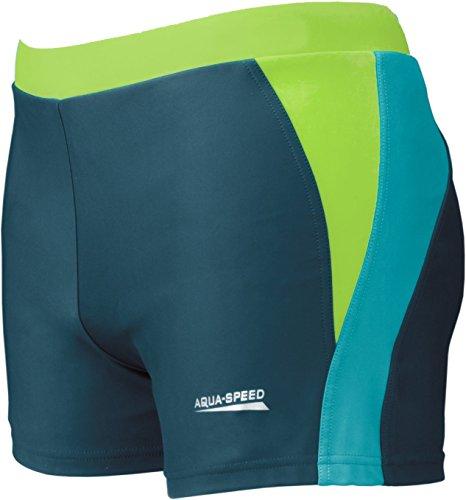 AQUA-SPEED® Herren Badehose | Schwimmhose | S-XXXL | Modern | Perfect Fit | UV-Schutz | Chlor resistent | Kordelzug 01. blue / light blue / green