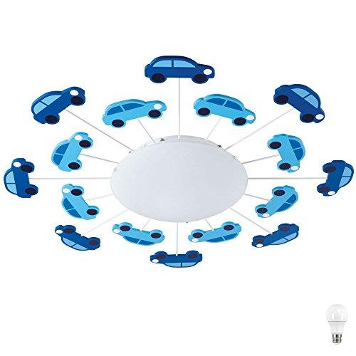 Kinder Decken Lampe Glas Beleuchtung Spiel Zimmer Auto Leuchte blau im Set inkl. LED Leuchtmittel
