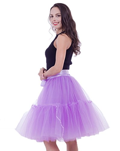 Honeystore Damen's Tüllrock Damen Vintage Tutu Rock Tanzrock Unterrock 5 Schichten Petticoat Prinzessin Rock Violett One - Halloween-party-songs Aktuelle