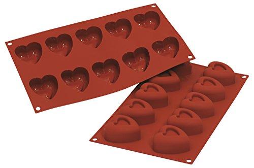 Silikomart 20.088.00.0060 - SF088 Molde de Silicona Savarin forma corazones de tamaño mediano. 24 Cavidades; color terracota