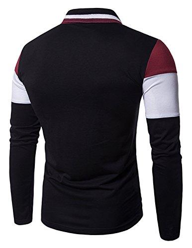 Boom Fashion poloshirt Herren Langarm-Polohemd Elegante Stil Männer Freizeit T-shirt Rot 1