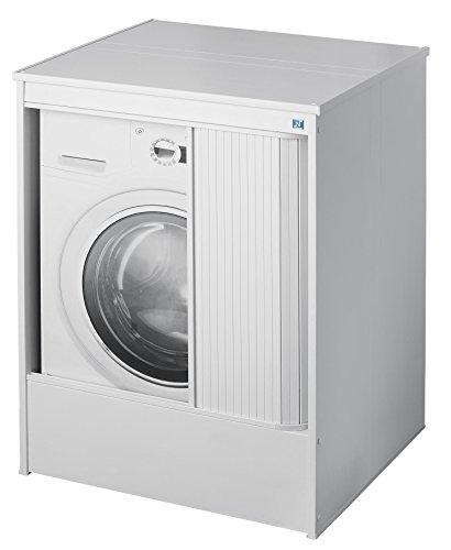 Negrari 5011P Möbelstück zur Waschmaschinenverkleidung mit Schiebetür für Außenbereich, Kunstharz, Weiß, 70x 60x 94cm