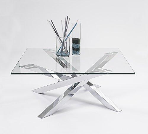 Homely - Mesa de centro cuadrada KADOS de cristal templado y patas cromadas
