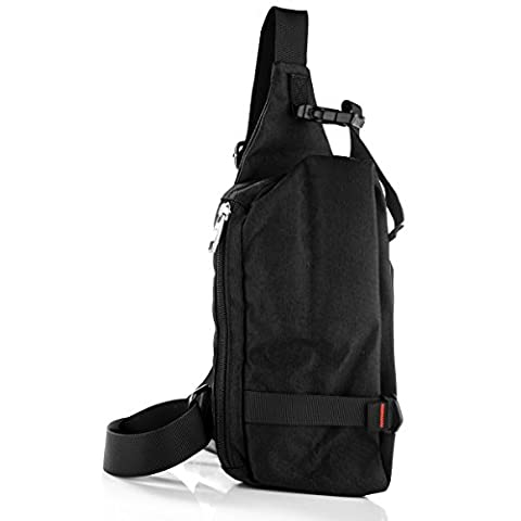 Sling Bag Chest Pack Unbalance Backpack Casual Crossbody Shoulder Bag Rucksack Water Resistant for Travel Outdoor Cycling oxford nylon black, by LC Prime