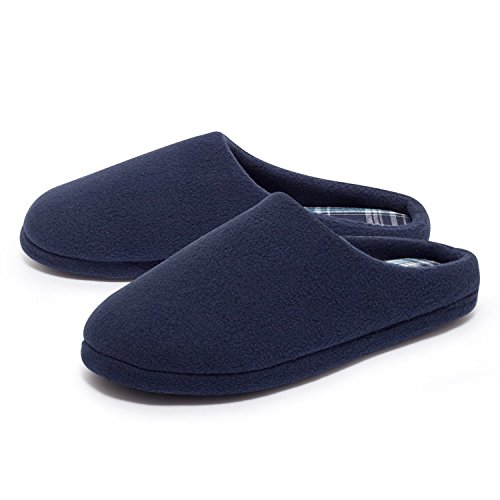 ZEARO Herren Fleece Hausschuhe Pantoffeln Slipper Gäste Puschen Latschen Schuhe 41-46 Blau