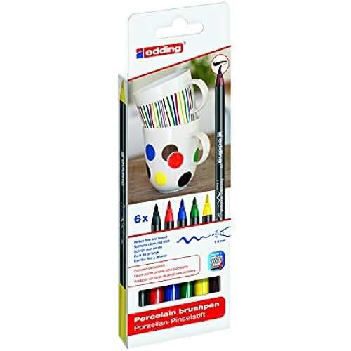 mas dibujos kawaii Edding 4200-6-S-000 - Estuche con 6 rotuladores para porcelana, multicolor