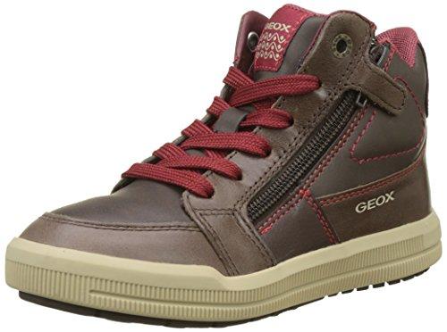 Geox Jungen J Arzach Boy F Hohe Sneaker, Braun (Coffee/Dk Red), 35 EU (Tennis Kinder Schuhe Jungen)