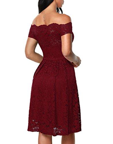 Z-one Damen Elegant Abendkleid Cocktailkleid Kleider Schulterfreies Knielang Festlich Kleider Spitzenkleid Schwarz Blau Rot Burgundy