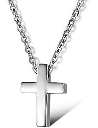 bigsoho Small Titanium Stainless Steel Simple Glossy Cross Pendant Silver Women/Men Necklace