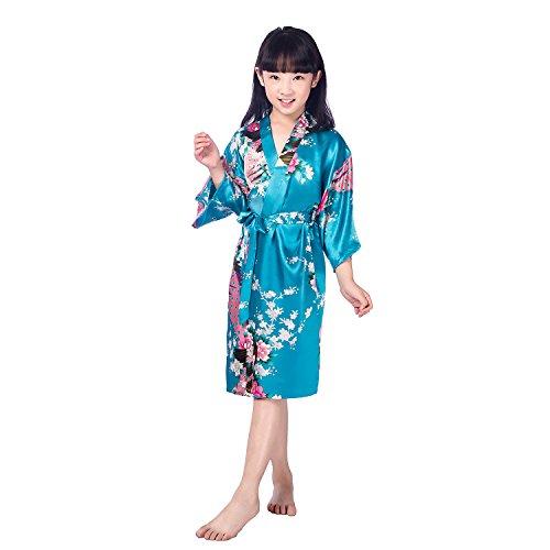 Honeystore Kinder Mädchen Morgenmantel Bademantel Nachtwäsche Kimono Robe Türkis 8# (Günstige Yukata Kostüm)