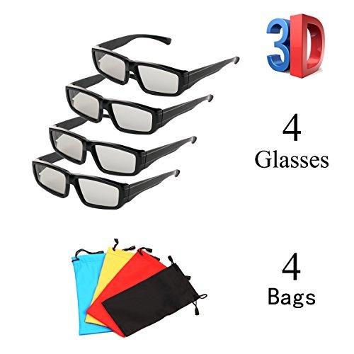 Pack de 4 vidrios polarizados pasivos 3D unisex para LG, Sony, Panasonic, Toshiba, Vizio y todos los televisores 3D pasivos Vidrios de cine 3D RealD para ver películas Paquete familiar Nuevas lentes polarizadas circulares