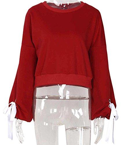 Miracleoccur Autunno Donne Casual Manica Lunga Rotondo Collo Felpa Cotone Maglione Crop Top Camicetta Jumper Pullover Rosso
