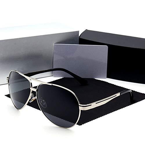 WULE-RYP Polarisierte Sonnenbrille mit UV-Schutz Vintage Metall Casual Polarized Sonnenbrillen Herren Unisex UV400 Schutz. Superleichtes Rahmen-Fischen, das Golf fährt (Farbe : Silver Frame)