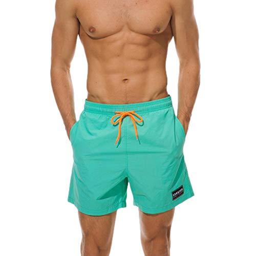 TEBAISE Herren Vert Shorts Boardshorts Solide Wasserdichte Badehose Badeshorts in Vielen Farben Schwarz(Minz grün,L)