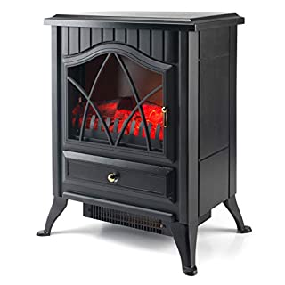 Beldray EH0792SSTK Electric Stove with LED Flame Effect, 1800 W, Black, 50cm