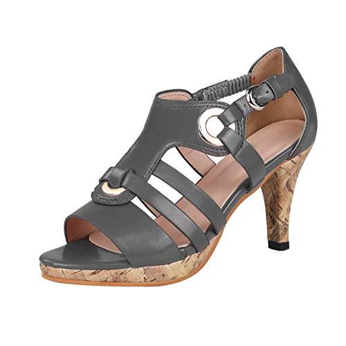 Damen Sandalen Sommer High Heels Abendschuhe Rockabilly Pumps Hochzeit Schuhe mit Hohen Absätzen Retro Peeptoe Sandalen Grau 41 EU -