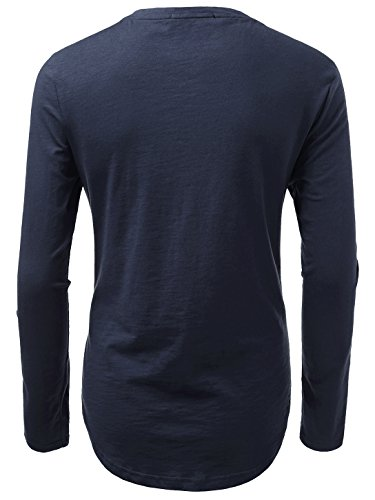 KAIUSI Herren Rundhals Langarmshirt Tee Shaped T-Shirts Dunkelblau