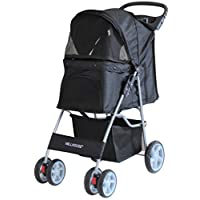 Millhouse Pet Travel Stroller Dog Cat Pushchair Pram Jogger Buggy With 4 Wheels