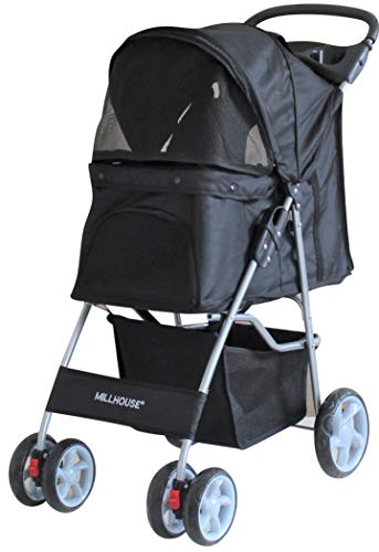 Millhouse Pet Travel Stroller Dog Cat Pushchair Pram Jogger Buggy With 4 Wheels (Black)