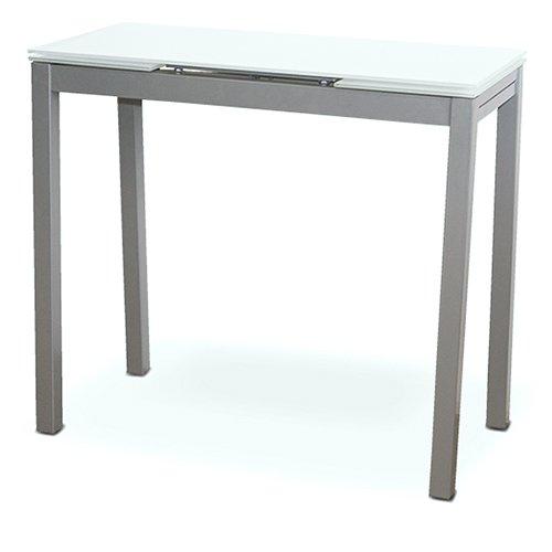 LIQUIDATODO ® - Mesa de cocina extensible con sobre de vidrio blanco, plateado moderna y barata