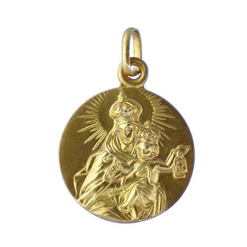 SACRE COEUR - Escapulario Sagrado Corazón y Vírgen del Carmen | Oro 18 Quilates | 20 x 20 mm | Grabado por Las Dos Caras