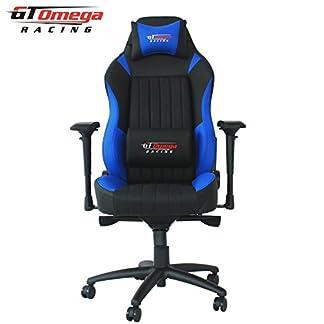 GT Omega Racing Evo XL – Silla de oficina, deportiva, cuero negro y azul