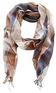 Schal Tuch für Damen und Herren Amira, 70x180 cm , blau braun kariert, Damentuch, Herrenschal