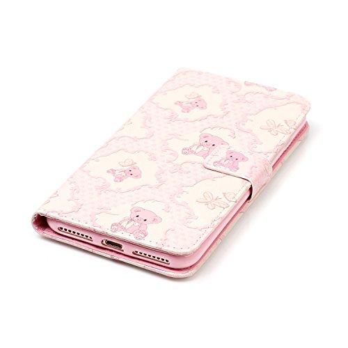 """MOONCASE iPhone 7 Plus Coque, [Live Your Dream] Modèle Housse Pochette en Cuir Etui à rabat portefeuille [Porte-cartes] TPU Case avec Béquille pour Apple iPhone 7 Plus 5.5"""" Rosa Bear"""