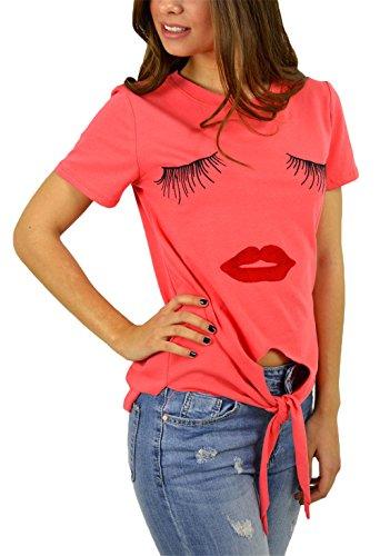 Femmes Mode Cils Mignon Impression à manches courtes encolure ras du cou irrégulière T-shirt Orange