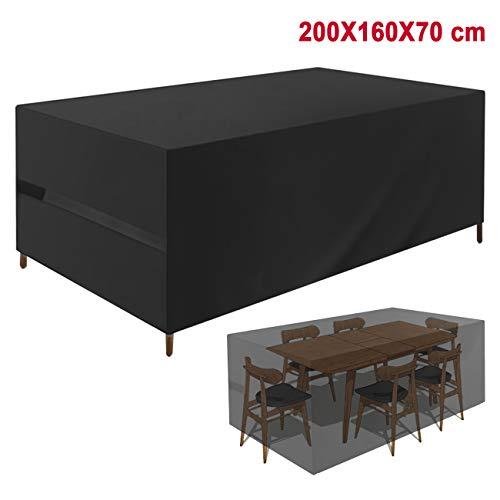 Favoto Abdeckung für Gartenmöbel Schutzhülle Gartentisch Abdeckplane 200x160x70cm für Tisch Stühle Outdoor Wasserdicht 420D Oxford Gewebe Rechteckig Schwarz - Outdoor Tisch Rechteckig