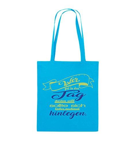 Comedy Bags - Wer gut in den Tag starten will sollte sich lieber nochmal hinlegen - Jutebeutel - lange Henkel - 38x42cm - Farbe: Schwarz / Weiss-Neongrün Hellblau / Hellgrün-Royalblau