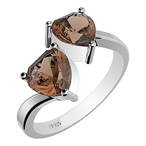 Sterling Silver Jewellery Femme Argent 925 Argent sterling 6x6mm Heart Quartz fumé