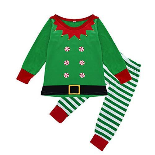 ssende Familie Pyjamas, Elf Pyjamas Unisex Frohe Weihnachten Streifen Druck Trainingsanzug Familie Passende Kleidung Outfits,Kids,120Cm ()