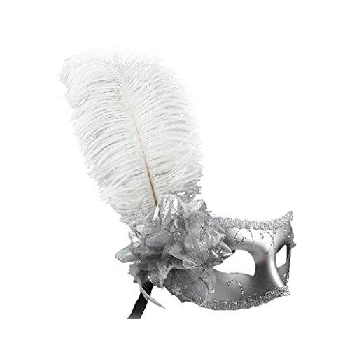 Gazechimp Maskenball Augenmaske mit Feder Blume Maske Fasching Partei Kostüm - Silber